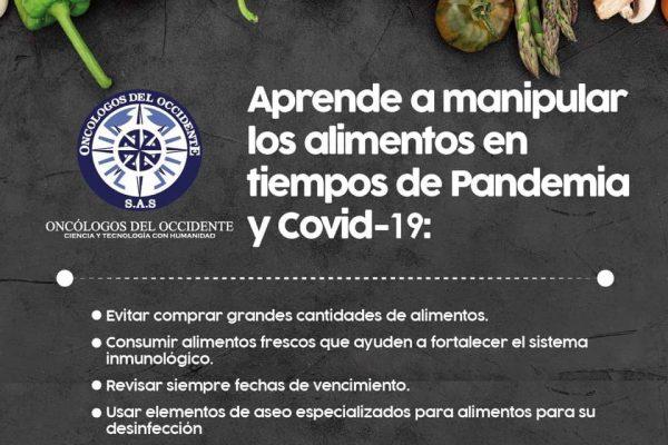 «Aprende a manipular los alimentos en tiempos de pandemia y COVID-19»