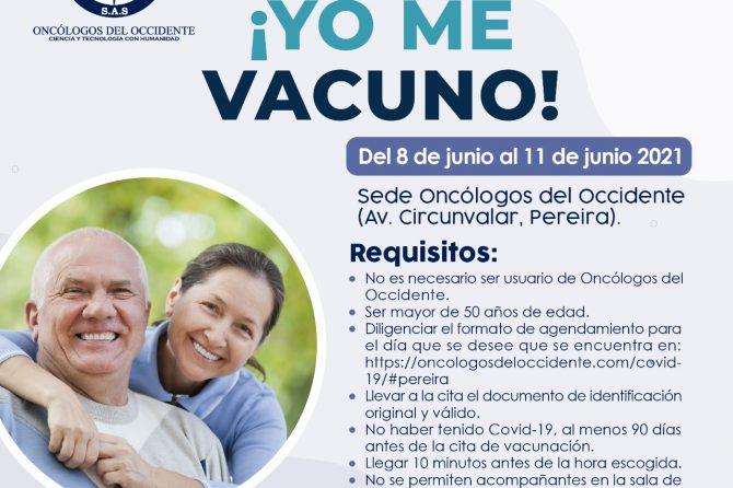 Vacúnate en Pereira (del 8 al 11 de junio 2021)