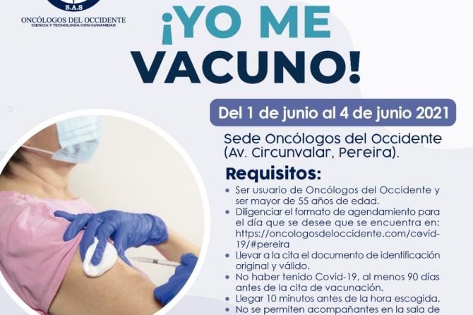 Vacúnate en Pereira (del 1 al 4 de junio 2021)