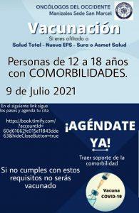 Vacúnate en Manizales (desde el 9 de julio 2021) personas mayores de 12 a 18 años con comorbilidades