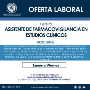 Oferta laboral: ASISTENTE DE FARMACOVIGILANCIA EN ESTUDIOS CLÍNICOS – PEREIRA