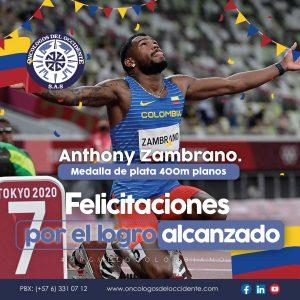 Felicitamos al colombiano Anthony Zambrano por la medalla de plata en 400m planos de Tokyo 2020