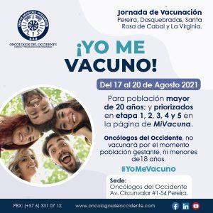 Vacúnate en Pereira (del 17 al 20 de agosto 2021) mayores de 20 años