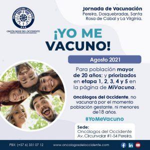 Vacúnate en Pereira (del 23 al 27 de agosto 2021) mayores de 20 años